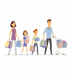 Family goes shopping - cartoon people characters vector