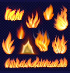 fire forms isolated set realistic style vector image