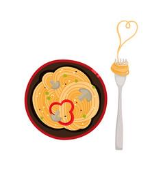 Flat asian udon noodles in pot fork vector