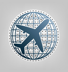 Globe and plane travel sign blue icon vector