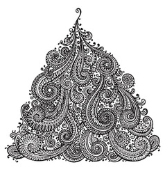 Hand drawn ornamental doodle Christmas Tree vector image