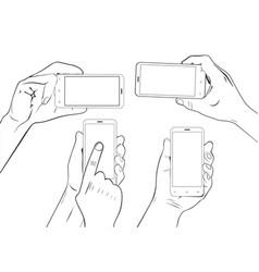 hand gestures holding smartphone sketch vector image