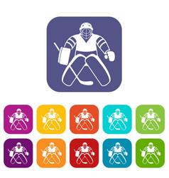 Hockey goalkeeper icons set vector