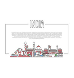 india landmark panorama in linear style vector image