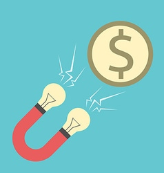 Innovative magnet attracting money vector image vector image