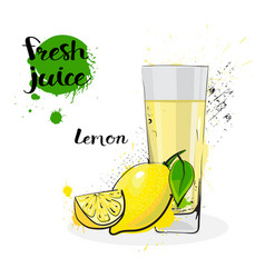 Lemon juice fresh hand drawn watercolor fruits and vector