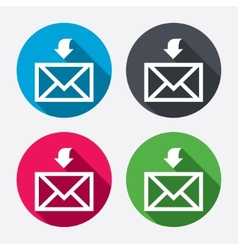 Mail receive icon Envelope symbol Get message vector image vector image
