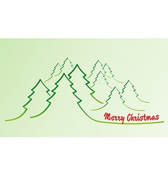 merry christmas card with trees vector image vector image