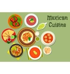 Mexican cuisine restaurant dinner icon vector