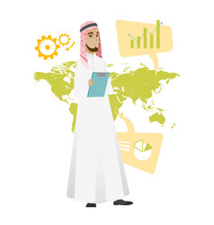 Muslim businessman working in global business vector