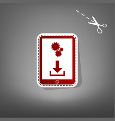 Phone icon with settings symbol red icon vector
