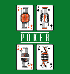 Poker playing cards queen and king diamond spade vector