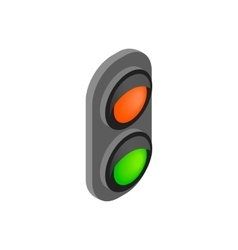 Railway traffic light isometric 3d icon vector