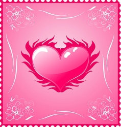 romantic stamp for valentines day vector image vector image