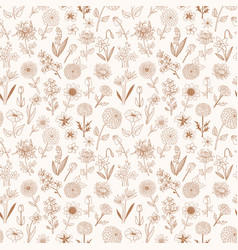 Seamless pattern with doodle sketch flowers can vector