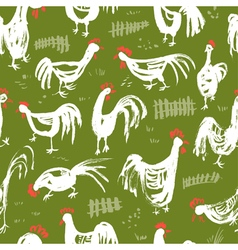 Seamless pattern with roosters ink drawing vector