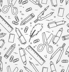 Seamless School Office Supplies Pattern Thin line vector image vector image