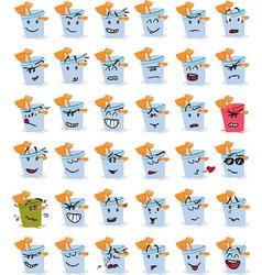 Set of bucket and beach shovel character emojis vector