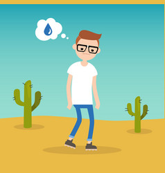 Thirsty boy dreaming about water flat editable vector