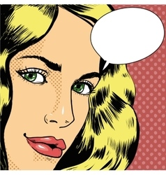 Woman with speech bubble in vector