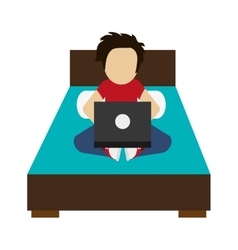 Man using laptop on bed icon vector