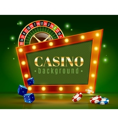 Casino festive lights green background poster vector