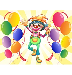 A clown with flowers and balloons vector