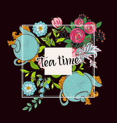 Time to drink tea trendy poster vector