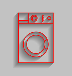 Washing machine sign  red icon with soft vector