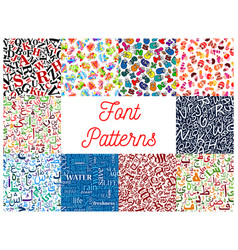Font seamless patterns with letter and number vector