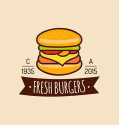 Vintage fast food logo burge sign bistro vector