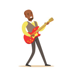 Young musician playing electric guitar colorful vector