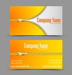 Zipper theme business card vector image