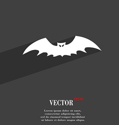 Bat icon symbol flat modern web design with long vector