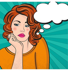 Pop Art of woman with the speech bubble vector image