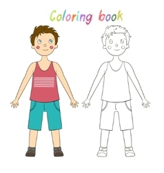 Coloring book educational game draw the human boy vector