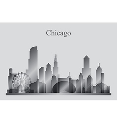 Chicago city skyline silhouette in grayscale vector