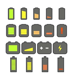 Different accumulator status icons vector