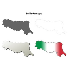 Emilia-romagna blank detailed outline map set vector