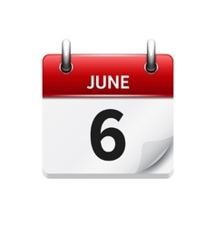June 6  flat daily calendar icon date and vector