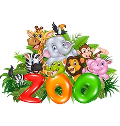 Word zoo with cartoon wild animal vector