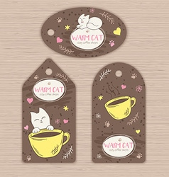 Hand drawn set of tags with cute cat and cup of vector