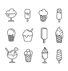 Ice cream set line icons vector