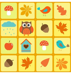 Birdsowl and autumnal leaves vector image