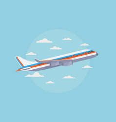 airplane in blue sky with white clouds traveling vector image