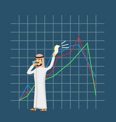 Arabian businessman speaking on phone vector