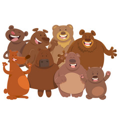 bears wild animal characters cartoon vector image