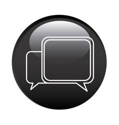 Black circular frame with speech icon vector