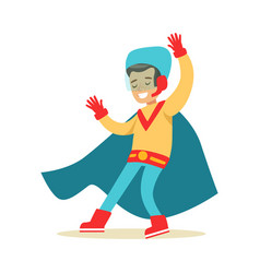 boy pretending to have super powers dressed in vector image vector image