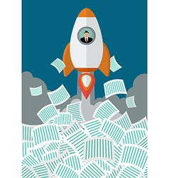 Businessman on rocket get away from a lot of vector